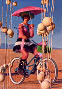 Bike Rider Prints - Pink Umbrella Print by Michael Pickett