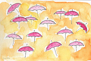 Rain Mixed Media Posters - Pink Umbrellas Poster by Linda Woods