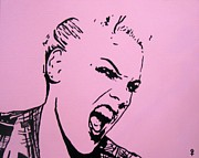 Screaming Mixed Media Posters - Pink Poster by Venus