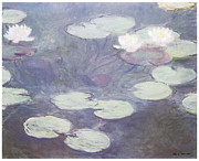Pink Water Lily Framed Prints - Pink Water Lilies Framed Print by Claude Monet