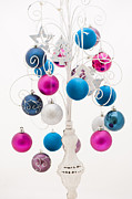 Balls Posters - Pink White and Blue Christmas Poster by Anne Gilbert