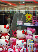 Hello Kitty Paintings - Pink Window by Charles Stuart