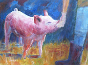 Sonoma County Painting Prints - Pinkie the Pig Print by Carolyn Jarvis