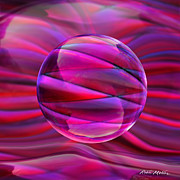 Pink Abstract Art Prints - Pinking Sphere Print by Robin Moline