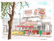 Sandwich Painting Posters - Pinks Chili Dogs - Hollywood - California Poster by Carlos G Groppa