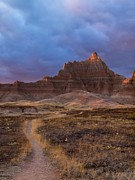Badlands Framed Prints - Pinnacle Path Framed Print by Rob Wilson