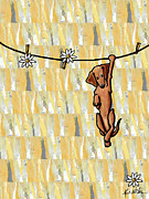 Dachshund  Art Mixed Media - Pinning Down Daisies by Kim Niles