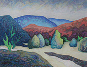 Taos Pastels Prints - Pinons in the arroyo Print by Dale Beckman