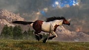Wild Horse Digital Art Prints - Pinto Mustang Galloping Print by Daniel Eskridge