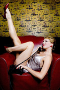 Talking Photo Metal Prints - Pinup girl with phone Metal Print by Diane Diederich
