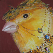 Canary Mixed Media Metal Prints - Pio Pio Metal Print by Jill Culver