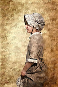 Antiqued Framed Prints - Pioneer Girl 2 Framed Print by Betty LaRue