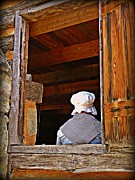 Cabin Window Photos - Pioneer Lady in the Window by JW Hanley
