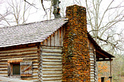 Log Cabins Prints - Pioneer Log Cabin Chimney Print by Kathy  White