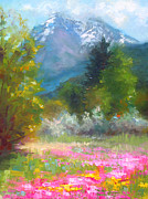 Brush Painting Prints - Pioneer Peaking - flowers and mountain in Alaska Print by Talya Johnson
