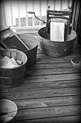 Tun Framed Prints - Pioneer Washday on the Porch Framed Print by JW Hanley