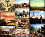 Cowboys And Indians Painting Framed Prints - Pioneers Cowboys and Indians Framed Print by Western