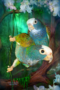 Parrot Mixed Media Prints - Pionus In Paradise Print by Carol Cavalaris