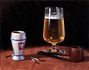Shot Glass Framed Prints - Pipe and Beer Framed Print by Timothy Jones