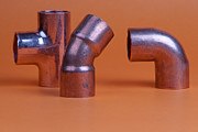 Brass Fittings Prints - Pipe fittings Print by Marek Poplawski