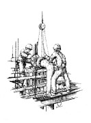 Industrial Art Drawings Prints - Pipefitters Print by Steve Knapp