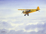 Plane Paintings - Piper Cub J3 by Bill Holkham
