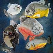 Pirahna  Fish Print by Debbie LaFrance