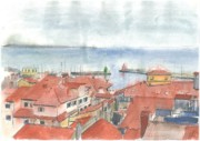St Piran Prints - Piran - View from St.Georges Church Print by Marko Jezernik