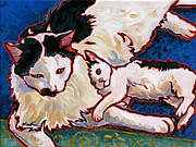 Feline Cat Art Paintings - Pirate and June by Nadi Spencer