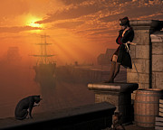 Pirate Ships Digital Art Posters - Pirate Captain at Sunset Poster by Fairy Fantasies