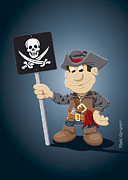 Pirate Framed Prints - Pirate Cartoon Man Jolly Roger Sign Framed Print by Frank Ramspott