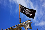 Pirate Ships Framed Prints - Pirate flag on ships mast Framed Print by Garry Gay