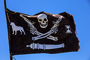 Piracy Framed Prints - Pirate flag with skull and pistols  es Framed Print by Garry Gay