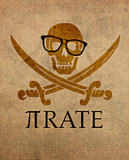 Pi Art - Pirate Math Nerd Humor Poster Art by Design Turnpike