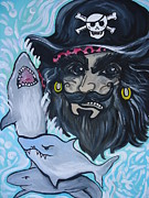 Buccaneer Painting Prints - Pirate Shark Tank Print by Leslie Manley