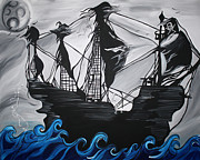 Pirate Ship Paintings - Pirate Ship by Brittney McClellan