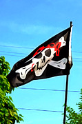 Thief Painting Posters - Pirate ship flag of the Skull and Crossbones Poster by Lanjee Chee