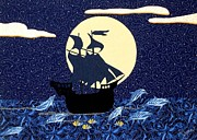 Pirates Tapestries - Textiles Prints - Pirate Ship Print by Jean Baardsen