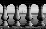 Black And White Prints - Pirate ship on the Bayshore Print by David Lee Thompson