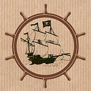 Sailing Ships Mixed Media Posters - Pirate Ships Wheel Poster by Mindy Bench