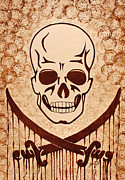 Pirates Posters - Pirate Skull and Crossed Swords Symbol coffee painting Poster by Georgeta Blanaru