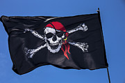 Piracy Framed Prints - Pirate skull flag with red scarf Framed Print by Garry Gay