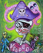 Pirate Mixed Media Posters - Pirate Voodoo Poster by Laura Barbosa