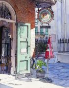 City Scene Drawings Originals - Pirates Alley 161 by John Boles