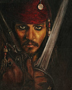 Pirates Drawings Posters - Pirates- Captain Jack Sparrow Poster by Lina Zolotushko