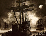 Pirate Ships Drawings Posters - Pirates cove Poster by Jared  Stone