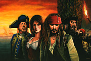 Pirates Painting Metal Prints - Pirates of the caribbean  Metal Print by Paul  Meijering