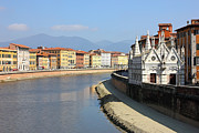 Marble Art - Pisa Riverside View with the church Santa Maria della Spina by Kiril Stanchev