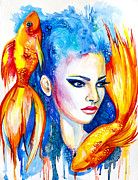 Girl Mixed Media Prints - Pisces Zodiac Print by Slaveika Aladjova