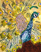Oversized Painting Originals - Pistacio Peacock by Miriam  Schulman